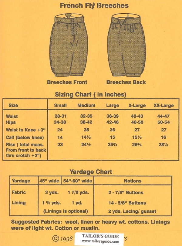 tailors guide  123   1690 1750 french fly breeches pattern