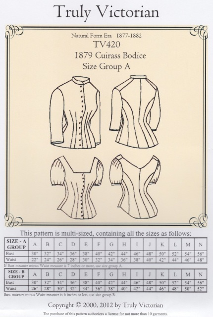 Old Time Patterns Truly Victorian 420 1879 Cuirass Bodice Pattern