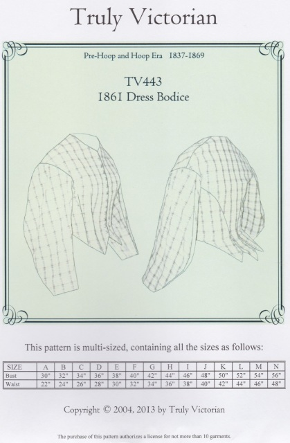 OLD TIME PATTERNS - Truly Victorian #443 - 1861 Dress Bodice Pattern