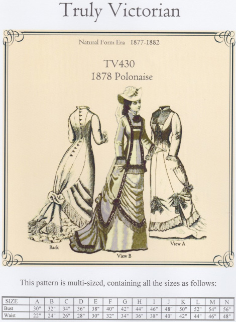 TV430 - 1878 Polonaise Sewing Pattern by Truly Victorian
