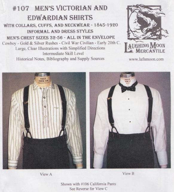 OLD TIME PATTERNS - Laughing Moon Mercantile #107, 1845-1920 Men\'s ...
